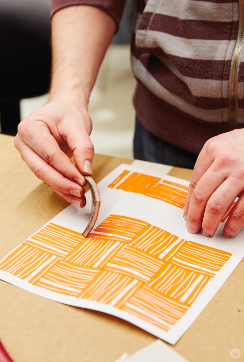 Making patterns in a Hallmark block printing basics workshop