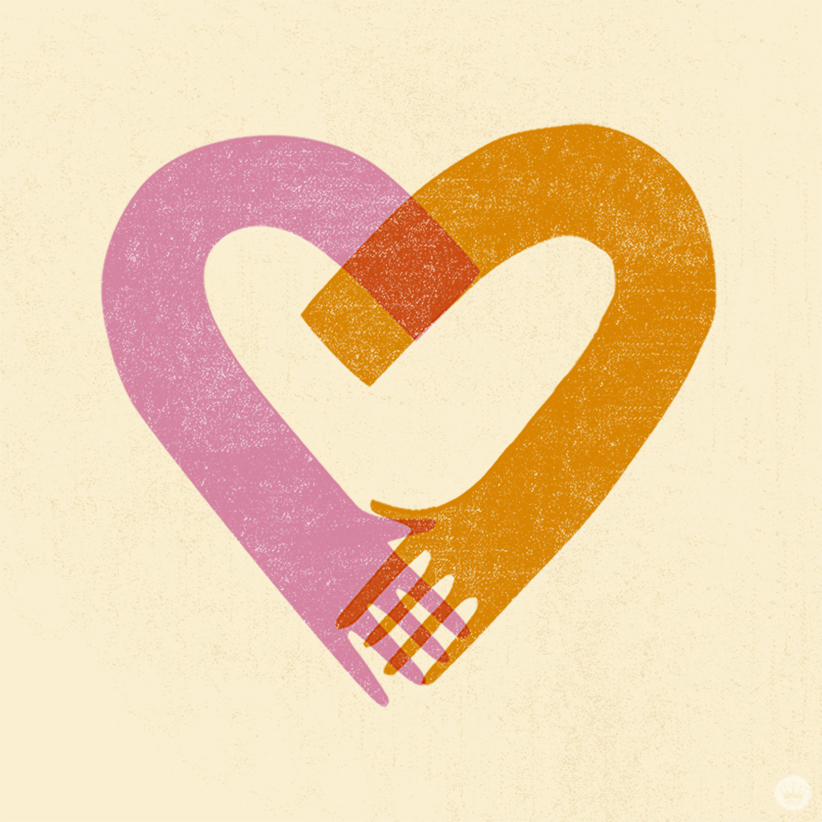 Empathy matters: Illustration of two arms holding hands in the shape of a heart.