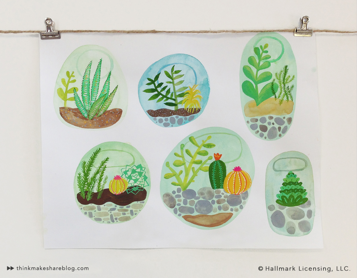 Cactus Watercolor by Sarah Walsh   thinkmakeshareblog.com