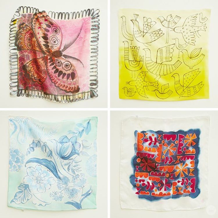 More from todays blog post Painting on silk scarves! Thehellip