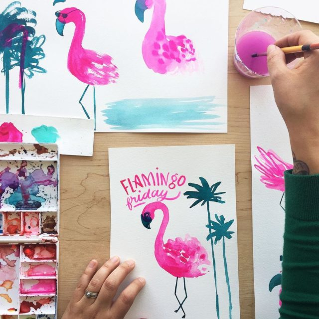 Fridays are for flamingos  Artwork by hallmark artist marisonortegahellip