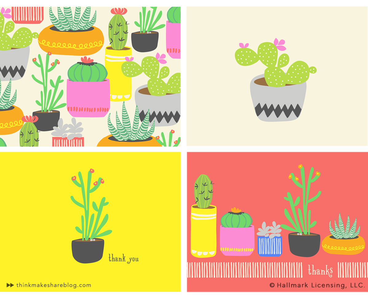 Cactus Stationary Collection by Lorenza Stornello | thinkmakeshareblog.com