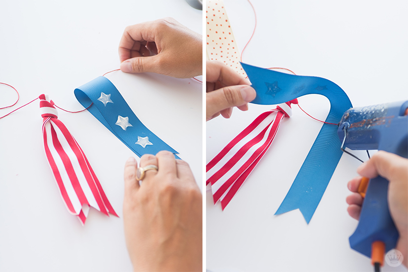 Gluing a ribbon to the cord.