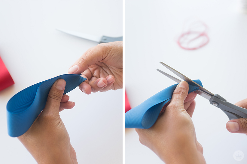 Make v-cuts in all your ribbons