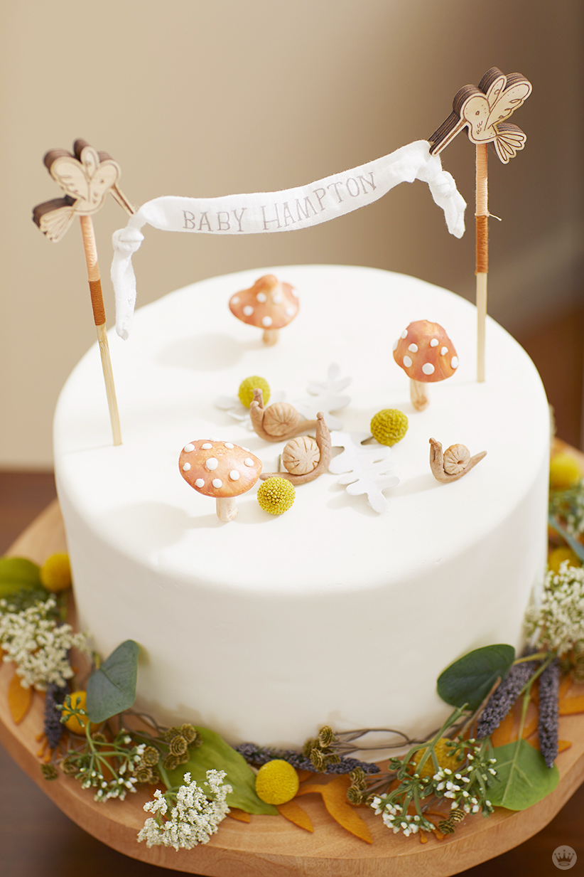 Decorated woodland-themed cake