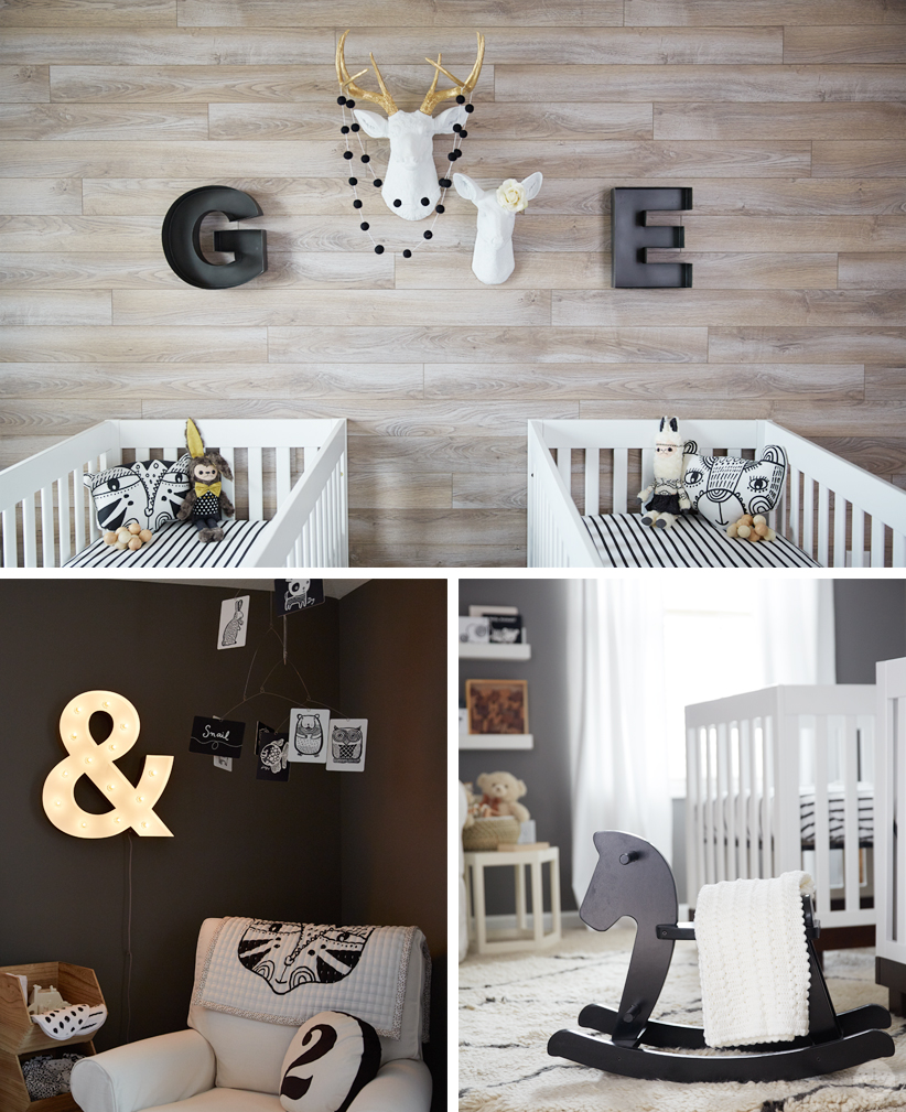 a black and white nursery for twins think make share. Black Bedroom Furniture Sets. Home Design Ideas