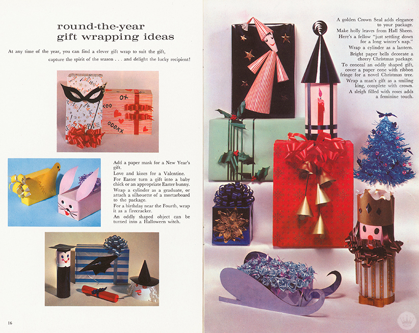 Pages from Hallmark's The Art of Gift Wrapping.