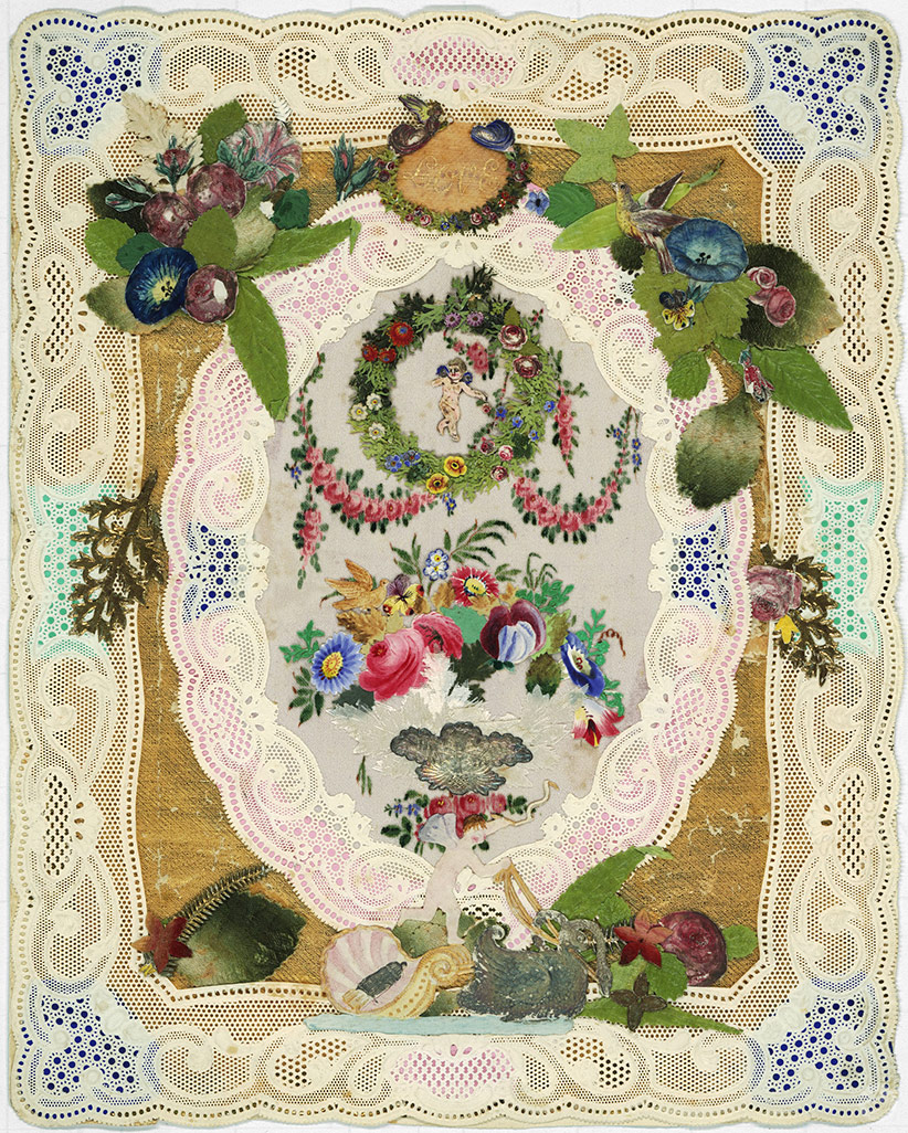 Original valentine designed by Esther Howland featuring colorful greenery