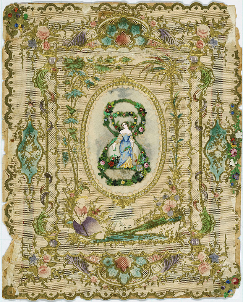 Ornate framed greeting card designed by Esther Howland