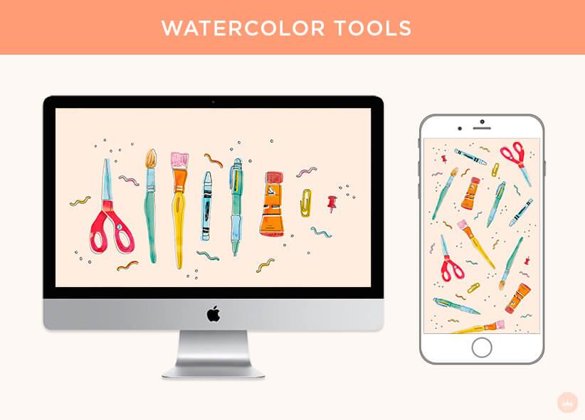 FREE AUGUST 2018 DIGITAL WALLPAPERS watercolor school supplies art