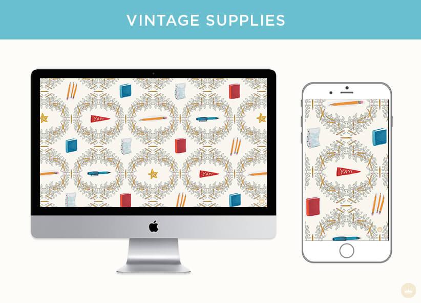 FREE AUGUST 2018 DIGITAL WALLPAPERS back to school supplies pattern art