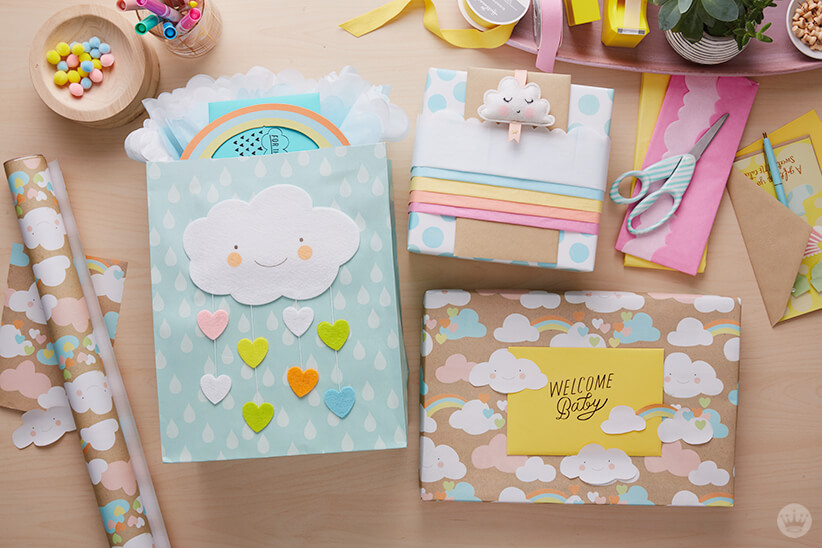 Dreamy baby gift wrap ideas