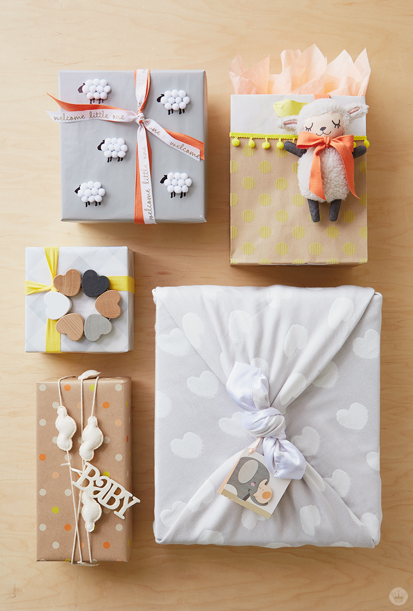 Wonderful Gift Wrapping Ideas Part - 2: Five Baby Gift Wrap Ideas, Clockwise From Top Right: Add A Lamb To A