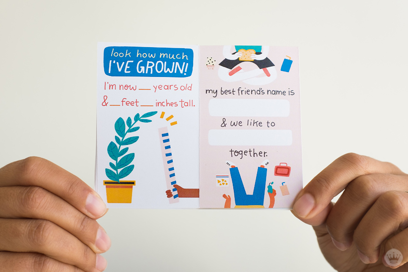 Back to school zine: Spaces to fill in personal details and best friend info