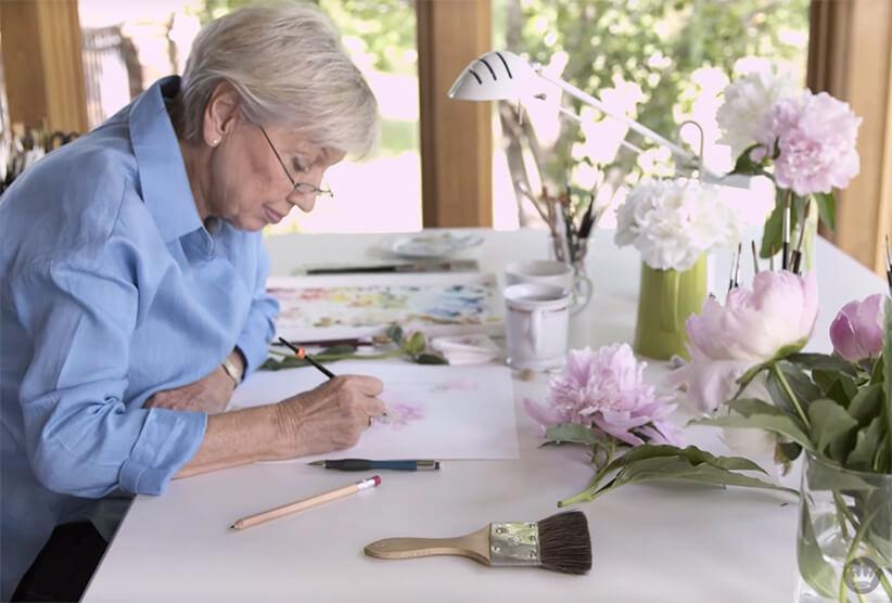 Marjolein Bastin paints in her home studio