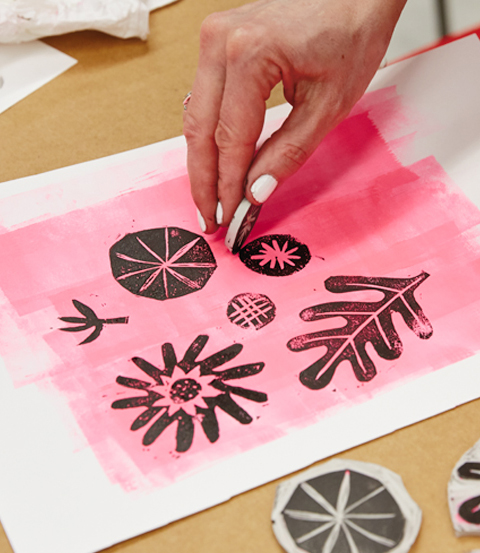 block printing tips and tricks from Hallmark artists