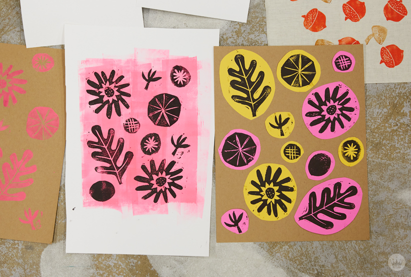 Linocut prints on a painted and a collaged background
