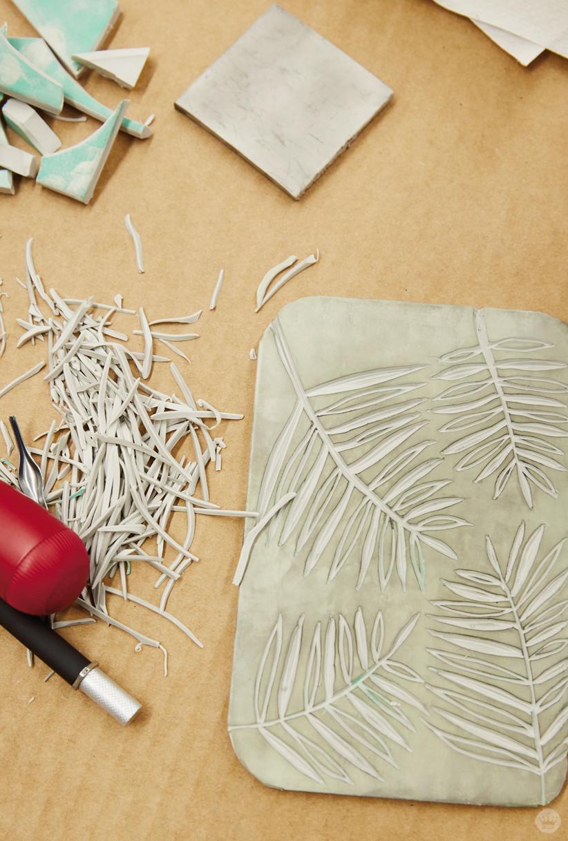Cutting a linoleum block in a Hallmark block printing basics workshop
