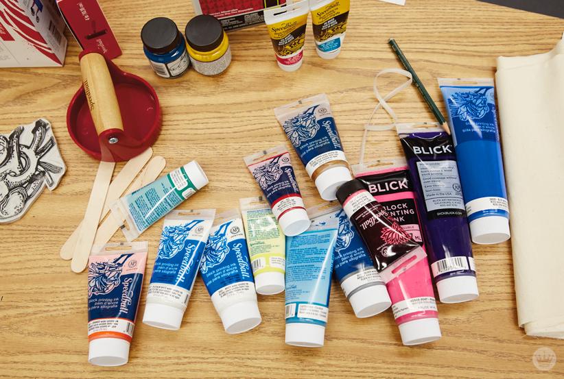 Supplies from a Hallmark block printing basics workshop
