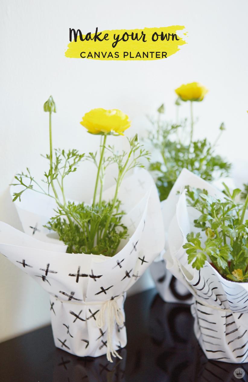 DIY canvas planter wraps: Make flowers into party favors - Think ...