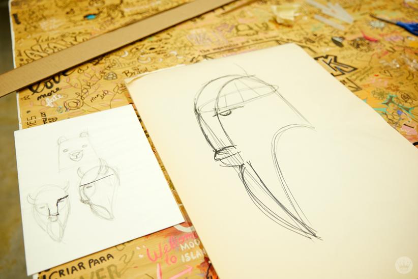 Hallmark artists explore cardboard Halloween costume ideas. Initial sketch.