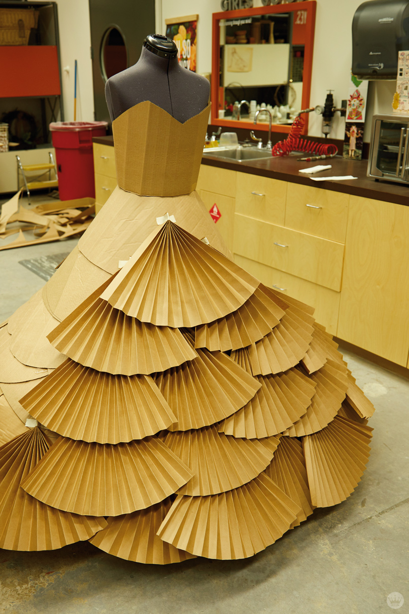 Hallmark artists explore cardboard Halloween costume ideas. Dress form.