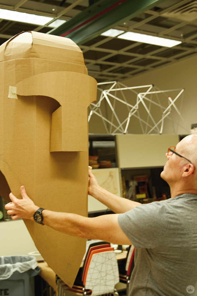 Hallmark artists explore cardboard Halloween costume ideas. Bison in progress.