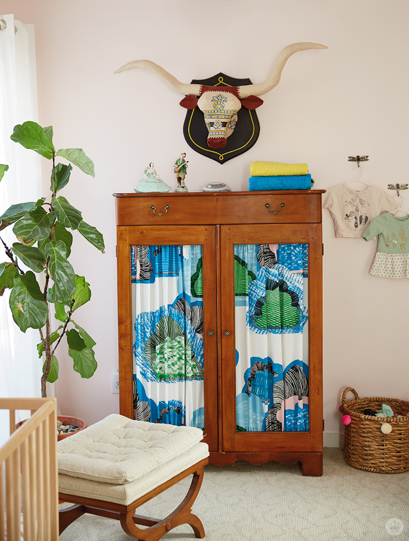This Children S Room Design Features An Armoire With Patterned Fabric Insets And A Hand Crafted