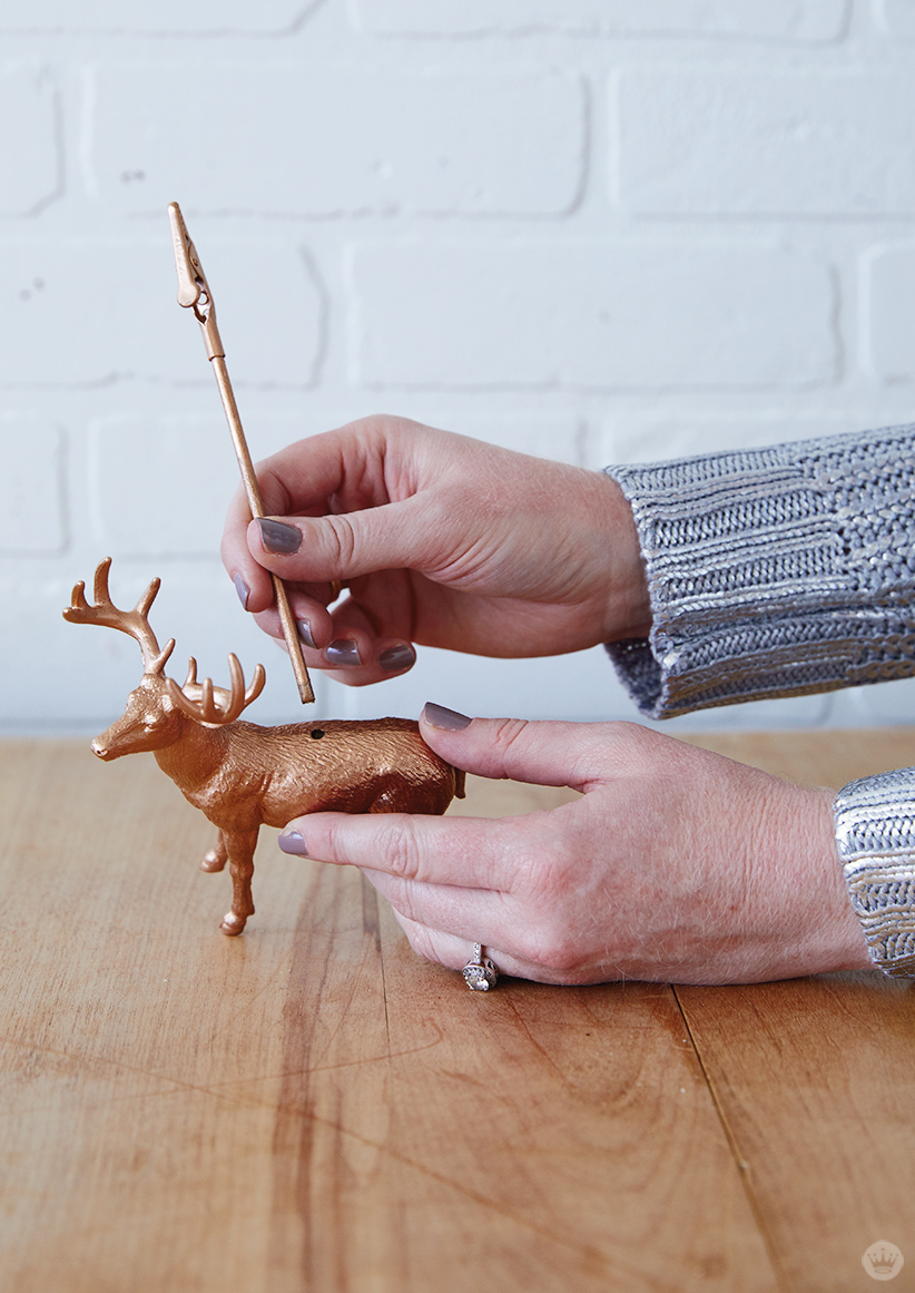 Adding a dowel to Gilded Deer Christmas Card Holders
