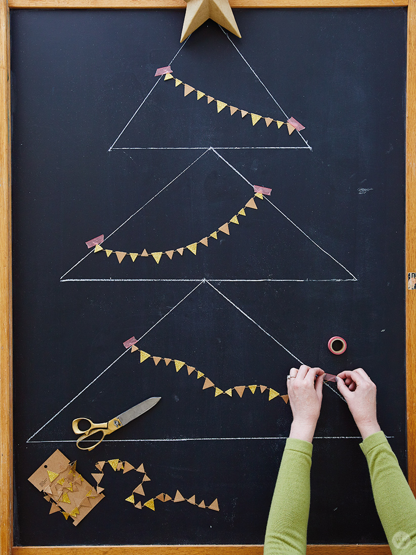 Adding a garland to the Chalkboard Holiday Card Display