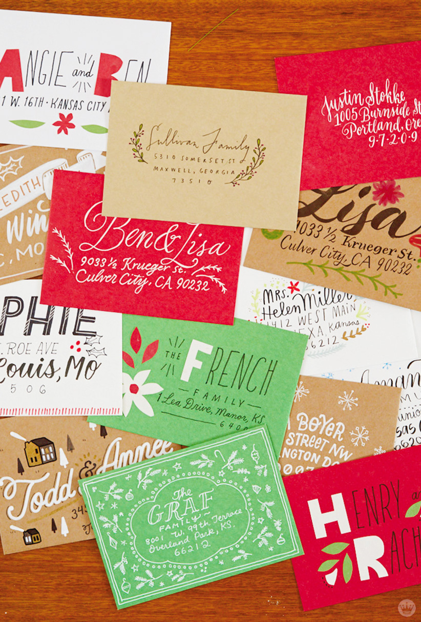 Christmas Card Challenge: stack of decorated envelopes