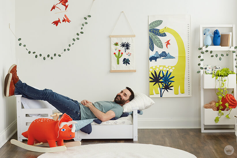 Colin W. dreams that the clothes in the Dinos & Botanicals collection from Hallmark Baby fit him.