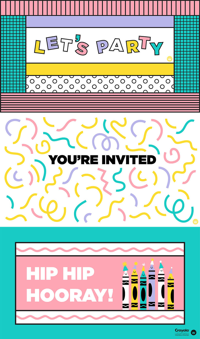 Digital event banners: LET'S PARTY, YOU'RE INVITED and HIP HIP HOORAY!