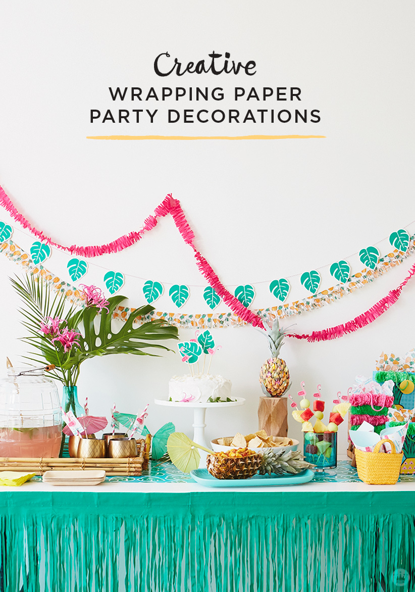 Creative Party Centerpieces : Creative wrapping paper party decorations luau edition