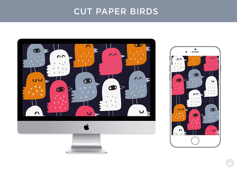 Digital wallpapers: Cut paper birds for computer screen and smartphone.
