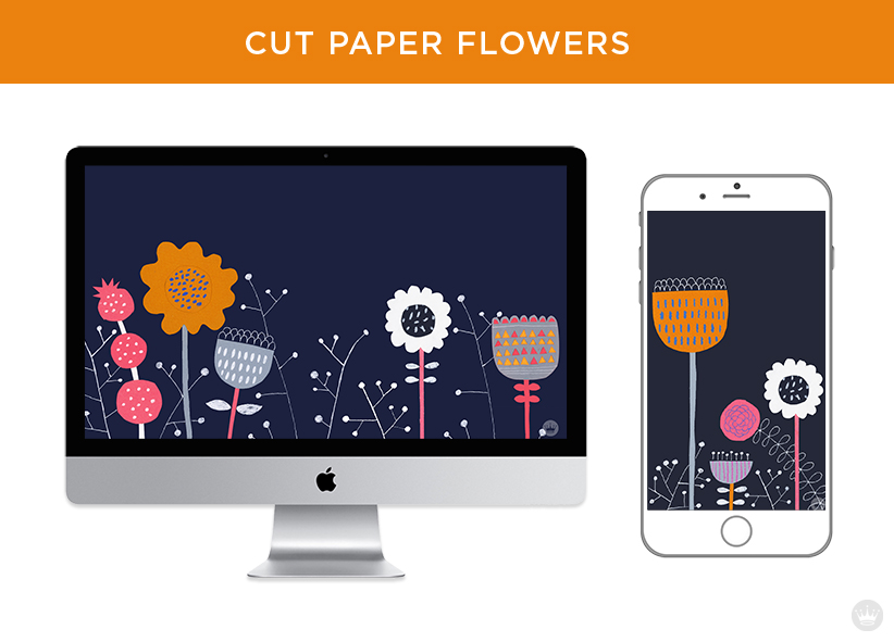 Digital wallpapers: Cut paper flowers for computer screen and smartphone.