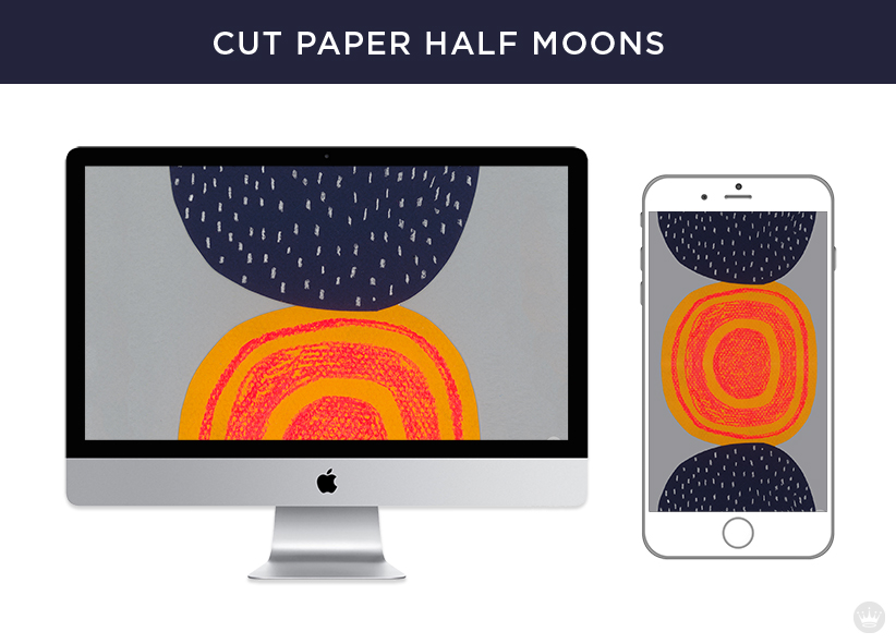 Digital wallpapers: Cut paper half moons for computer screen and smartphone.