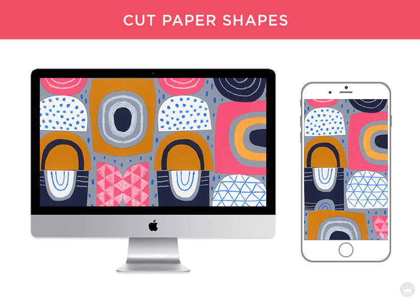 Digital wallpapers: Cut paper shapes for computer screen and smartphone.