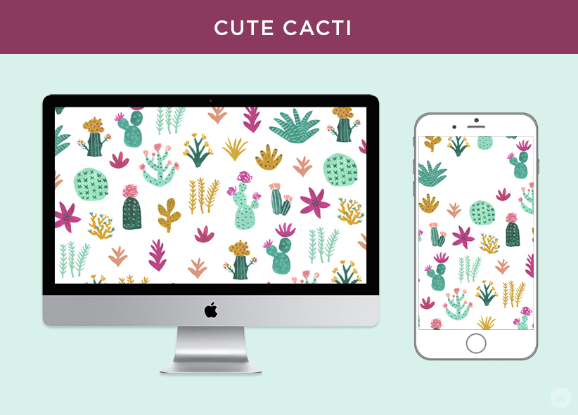 Free digital March wallpapers: Cute Cacti