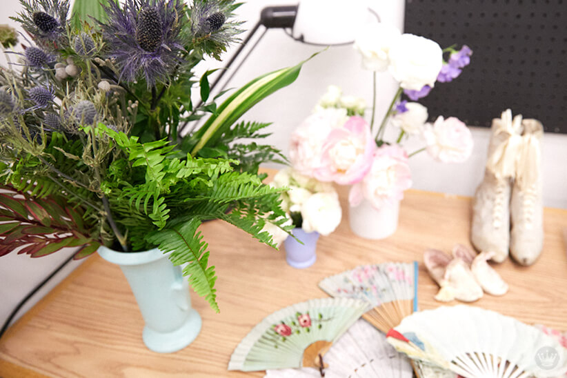 Flowers, shoes, and fans to use in making cyanotype prints