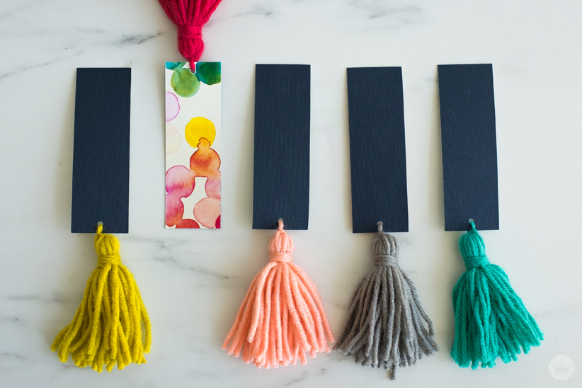DIY Tassel Bookmarks: Shown with fabric backing