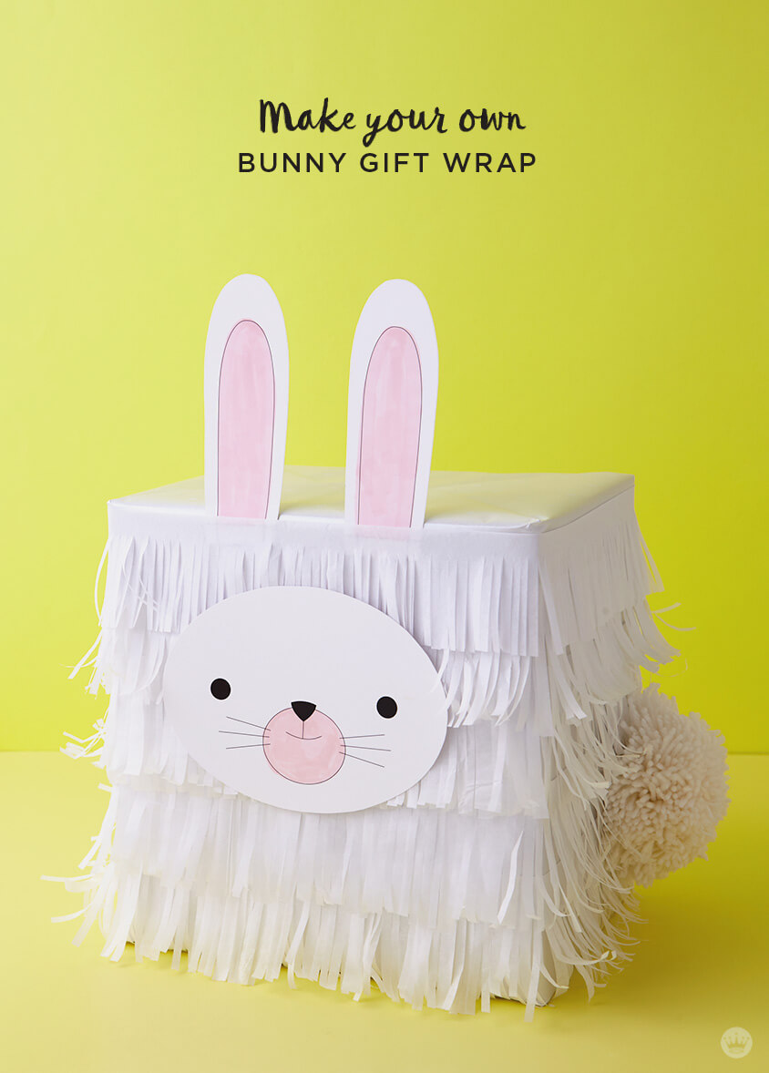 Turn boxes into bunnies and chicks with kids easter gift wrap ideas kids easter gift wrap ideas tissue paper bunny negle