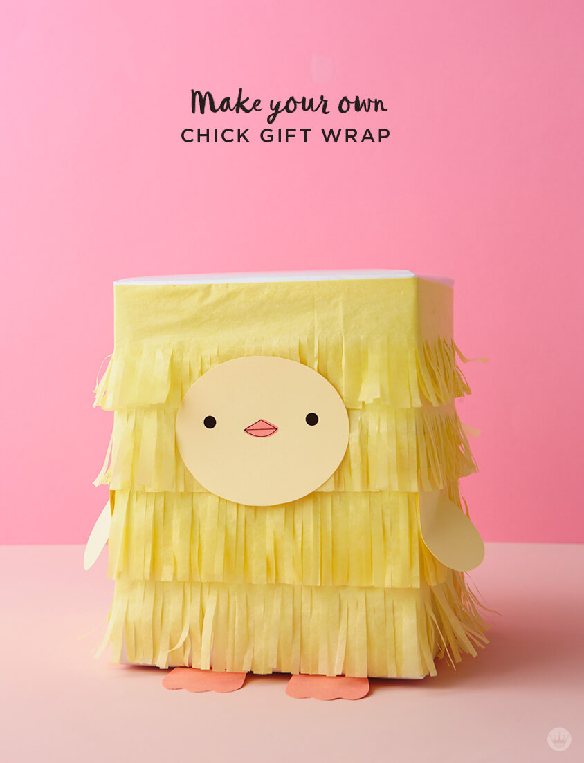 Kids Easter Gift Wrap Ideas: Tissue paper chick