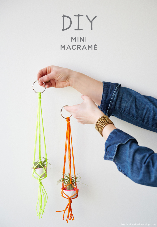 How To Diy Mini Macrame Plant Hangers Think Make Share