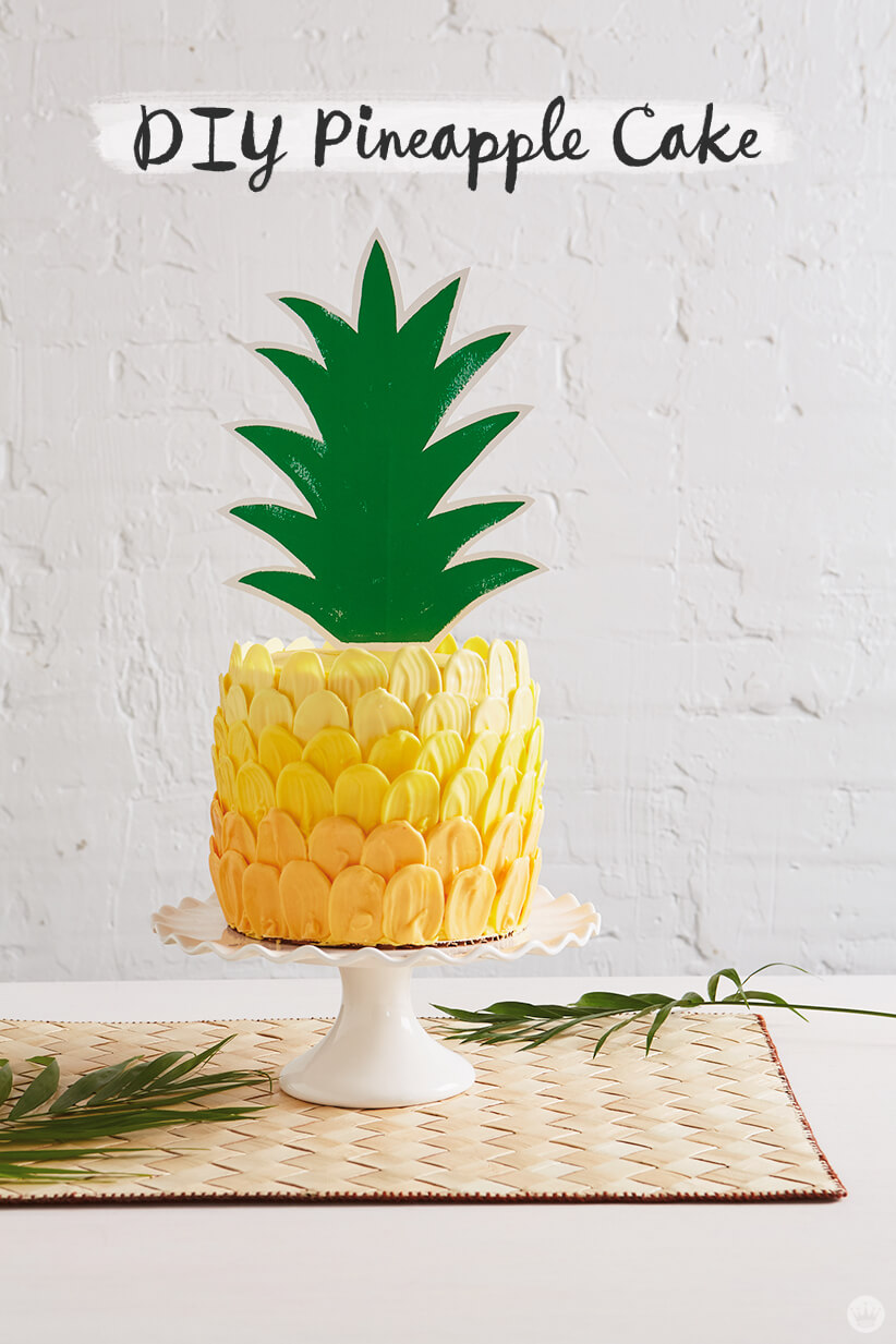 Ombré brush stroke pineapple cake with paper topper
