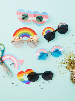 Customize your own DIY Pride Sunglasses with our free downloads