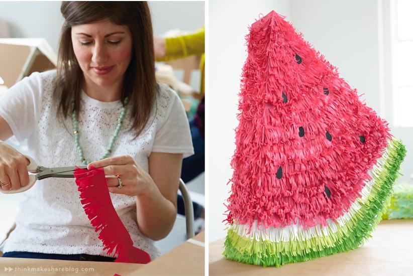 DIY Summer Pinatas | Watermelon | thinkmakeshareblog.com