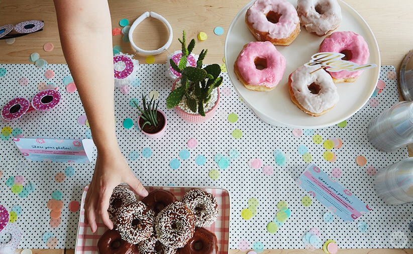 Donuts on platters for National Donut Day