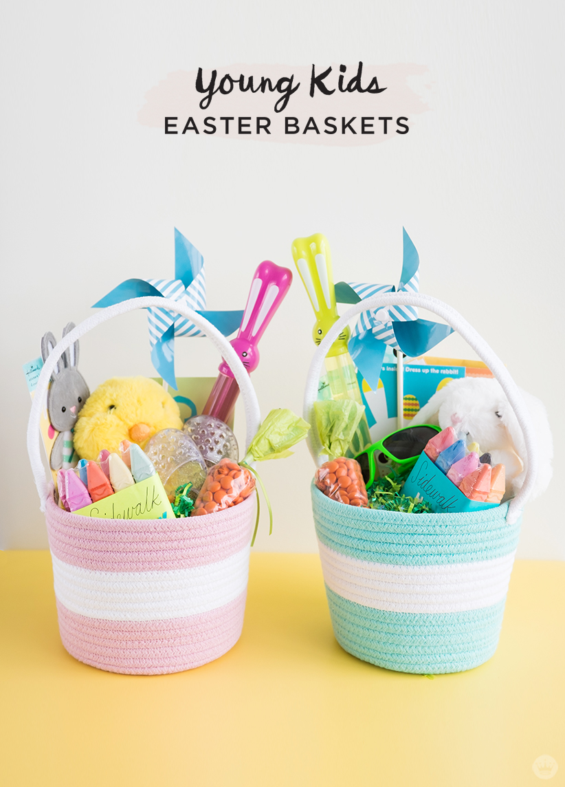 Easter basket ideas for kids from toddlers to teens thinkkeare i also included some sweet dangly earrings a piece of her baby sisters abstract art in a simple gold frame and just a few chocolate eggs negle Image collections