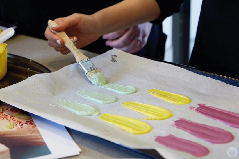 Making candy brushstrokes for Easter cakes